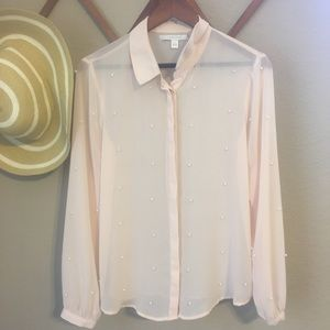 Lauren Conrad Blush Sheer Blouse with Pearls